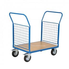 Chariot grillagé 2 ridelles plateau bois 1000 x 700 mm