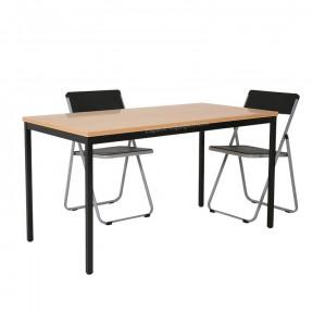 Table polyvalente plateau hêtre pietement noir pour bureau et atelier