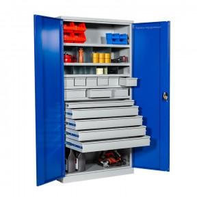 Armoire haute d'atelier métallique à portes battantes et tiroirs