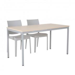 Table multi-usages plateau chêne piétements gris mise en situation