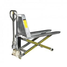 Transpalette a ciseaux galvanisé vue de 3/4 position haute