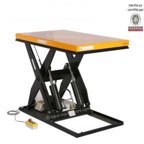 table élévatrice electrique 2000 kg grand plateau levé